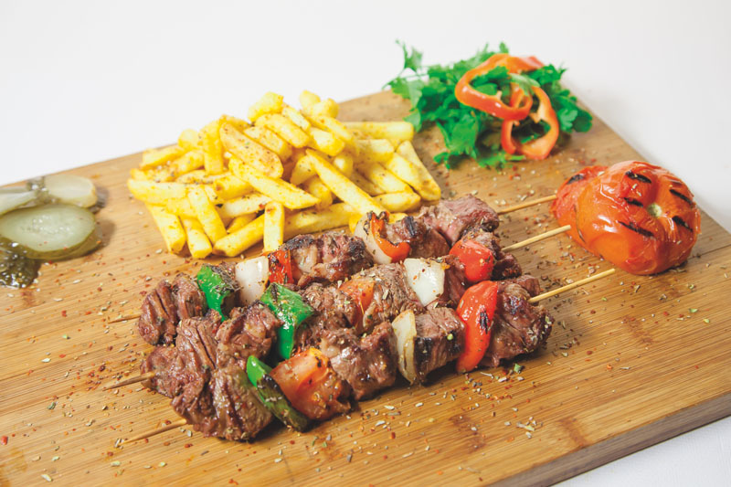 Marinated beef skewer with blond oaked beer
